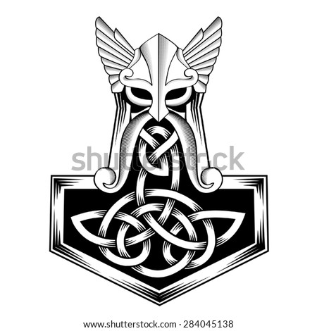 Hammer of Thor medieval Viking Symbol - stock vector