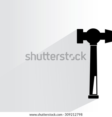 hammer on white background, flat and shadow theme - stock vector