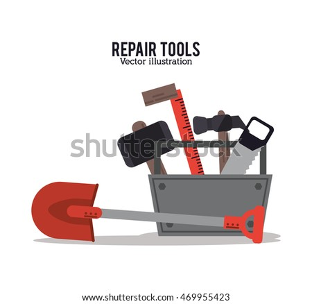 hammer saw shovel ruler repair tools construction icon. Colorful design. Vector illustration