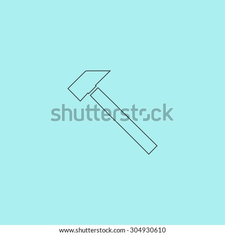 Hammer. Simple outline flat vector icon isolated on blue background - stock vector