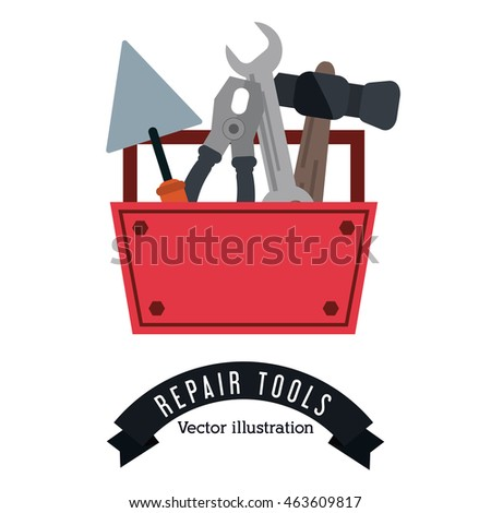 hammer wrench pliers spatula. Tools kit icon. Repair construction concept. Isolated and Colorfull illustration. Vector graphic