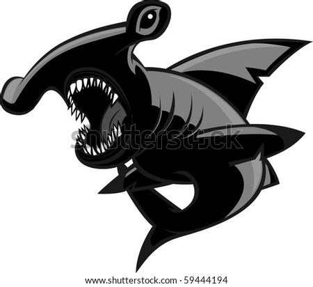 Hammerhead shark with two different color styles. - stock vector