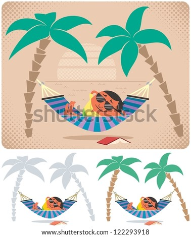 Hammock Relaxation: Man relaxing in hammock. The illustration is in 3 versions. No transparency and gradients used. - stock vector
