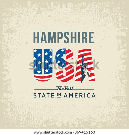 Hampshire best state in America, white, vintage vector illustration