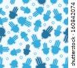 Hamsa hand and Star of David seamless pattern. - stock vector