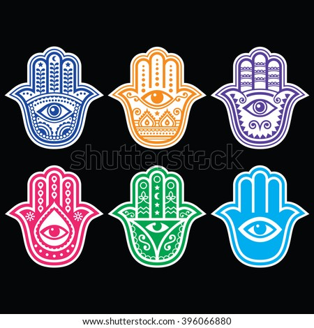 Hamsa hand, Hand of Fatima - amulet, symbol of protection from devil eye on black - stock vector