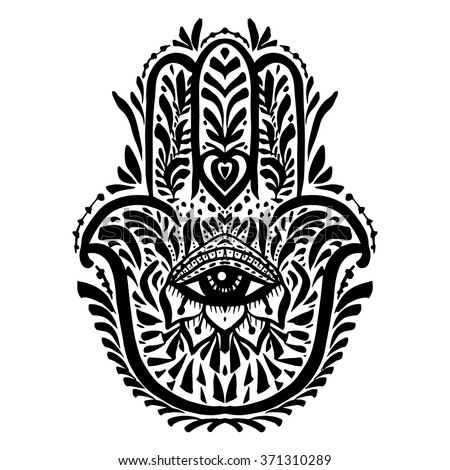 Hamsa Hand Palm Hand Drawn Divine Stock Vector 371310289 Shutterstock
