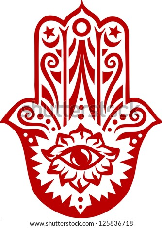 Hamsa hand - vector image / Hand of Fatima / protection amulet, symbol of strength and happiness - stock vector
