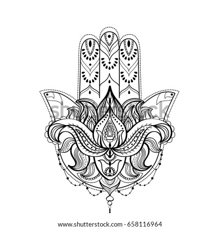 Hamsa Hand Lotus Flower Black White Stock Vector Royalty Free 658116964