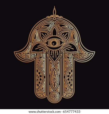 Hamsa Hand Fatima Protection Amulet Devil Stock Vector 654777433