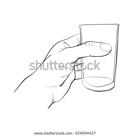 hand activity,hand holding glass of water