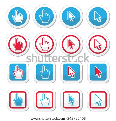 Hand and arrow cursor vector icons set - stock vector