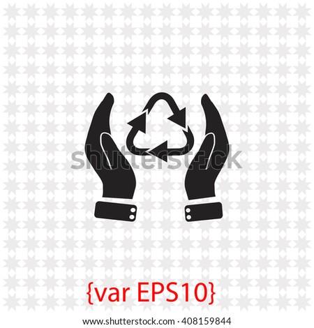 Hand and bio icon. - stock vector