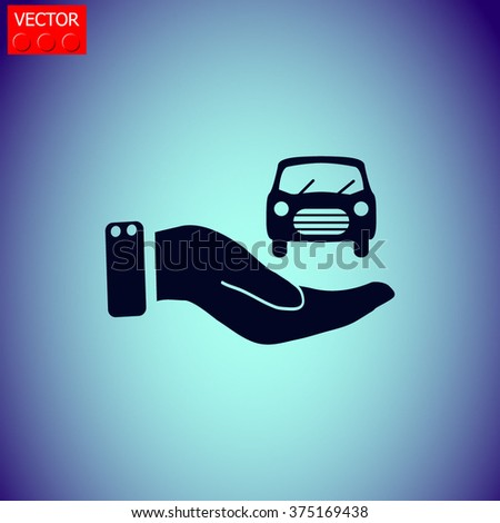 Hand and car vector icon.