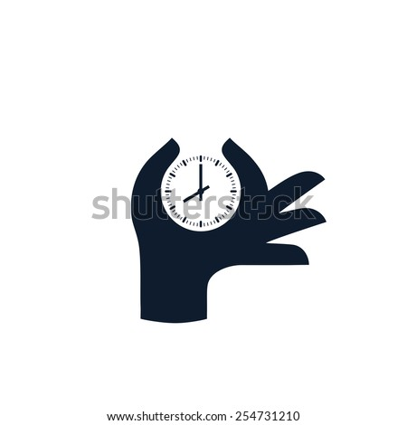 Hand and clock. Vector icon. - stock vector