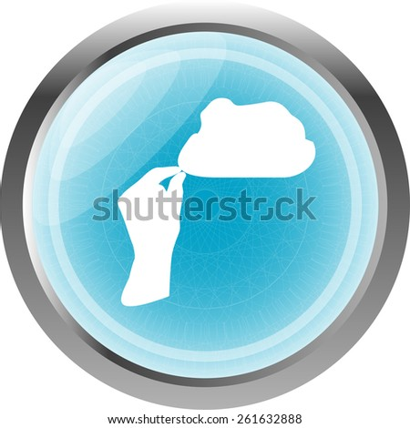 hand and cloud web icon isolated on white - stock vector
