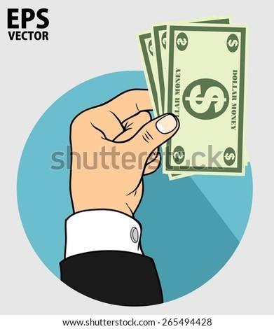 hand and dollar money - stock vector