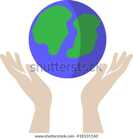 hand and earth , vector