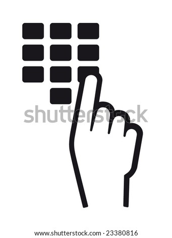 hand and finger pushing button on a keypad - stock vector