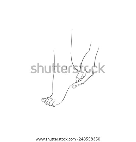 Hand and foot, body care, woman hand applying cream on feet, vector illustration - stock vector