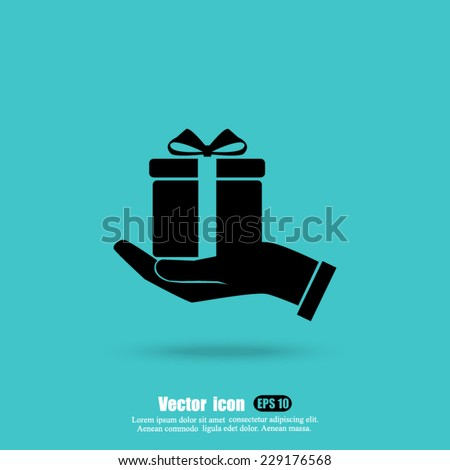 hand and  gift vector icon - stock vector