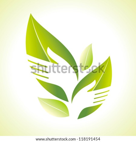 Hand and Leaf silhouette - stock vector