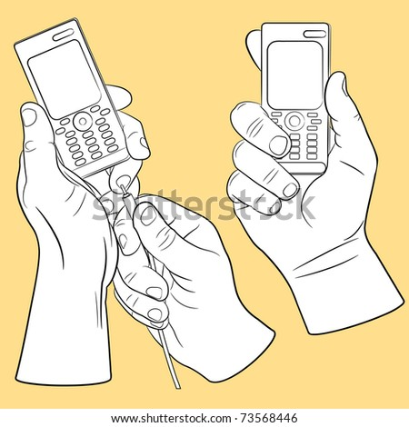 Hand and mobile phone set(vector, CMYK)