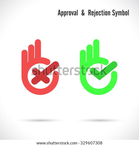 Hand and modern check mark icon.Wrong and right check mark icons.Ok logo design vector symbol.Hand okay symbol icon logotype.Approval and rejection concept.Vector illustration - stock vector
