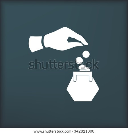 Hand and money  icon,  vector illustration. Flat design style - stock vector