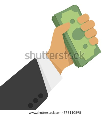 Hand and money vector illustration.  Businessman holds in hand a wad of money. - stock vector