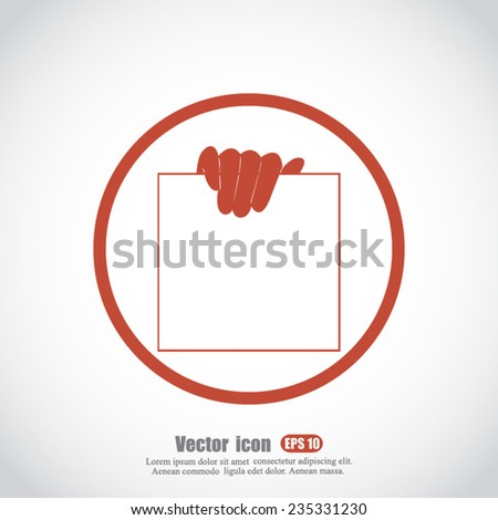 hand and paper vector icon - stock vector