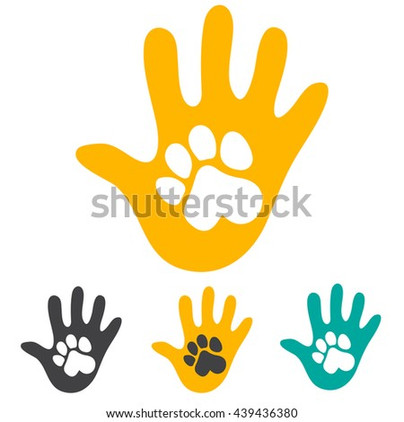 Hand and pet dog paw. - stock vector