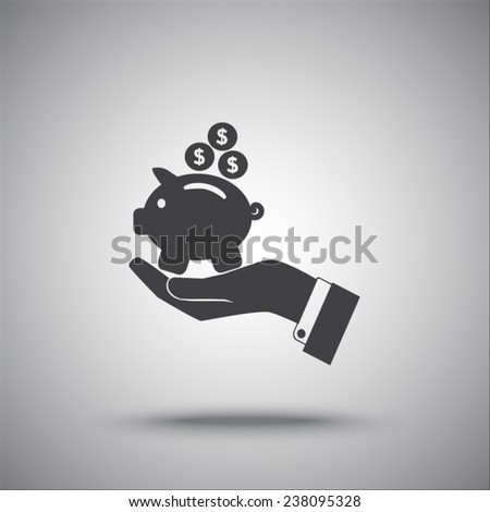 hand and  piggy bank vector icon - stock vector