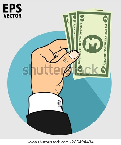 hand and pond sterling money - stock vector