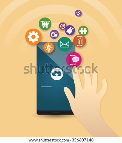 Hand and the cell phone. Vector created illustration- hand on the touch screen, cell apps.