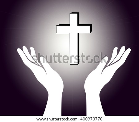 hand and the cross of Jesus Christ sign