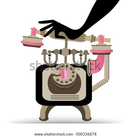 Hand answering retro phone  - stock vector