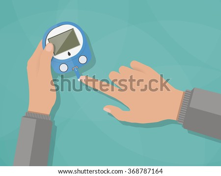 Hand applying blood drop to test strip of Glucometer, Diabetes blood glucose test. vector illustration in flat design, on green background - stock vector