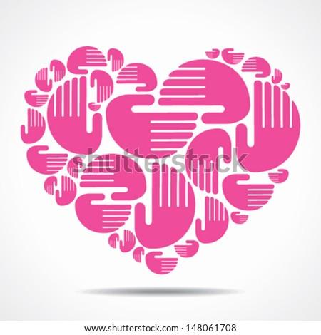 hand arrange in heart shape vector - stock vector