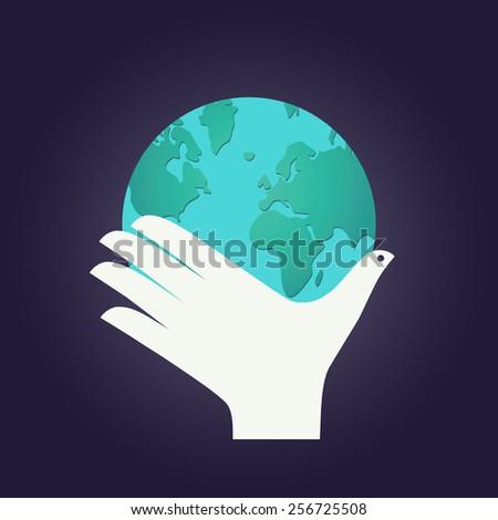 Hand as a bird with globe - stock vector
