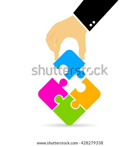 Hand assembling puzzle vector illustration isolated on white background - stock vector