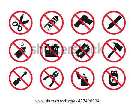 Hand baggage Prohibited Items // Airport Security icons set // 03 - stock vector