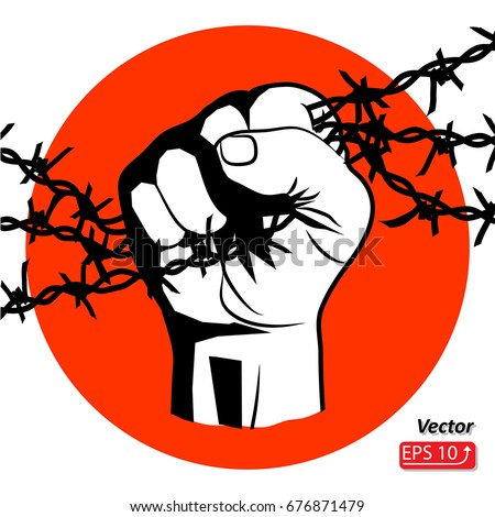 Hand Barbed Wire Clenched Fist Resistance Stock Photo Photo Vector