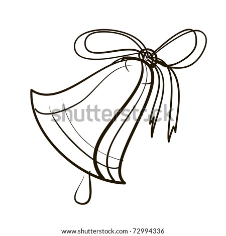 Hand bell with a ribbon. A children's sketch. Bell cartoon