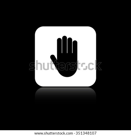 Hand - black vector icon on the white button