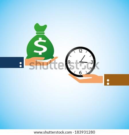 hand bring money clock time - stock vector