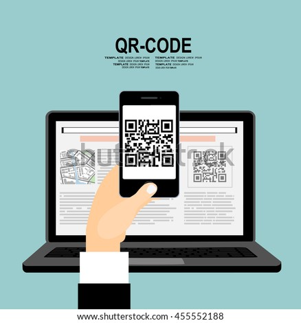 Hand businessman in front  monitor laptop and scanning QR code with smartphone - stock vector