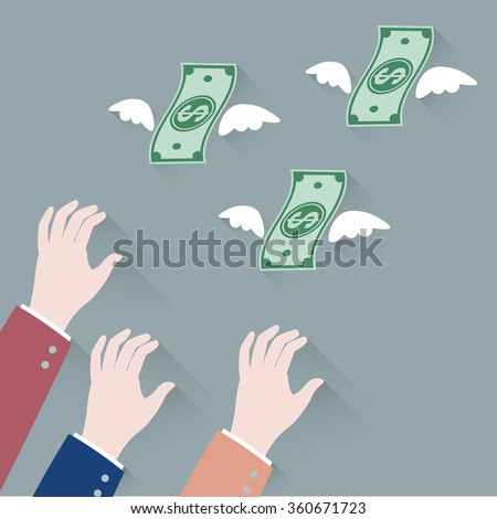 Hand businessman trying to grab Money Flying Away vector