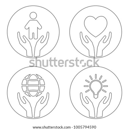 hand care child heart planet lightbulb icon