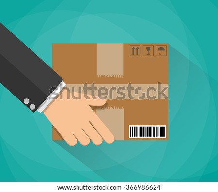 Hand carrying a cardboard box. delivery concept. vector illustration in flat design on green background with long shadow - stock vector
